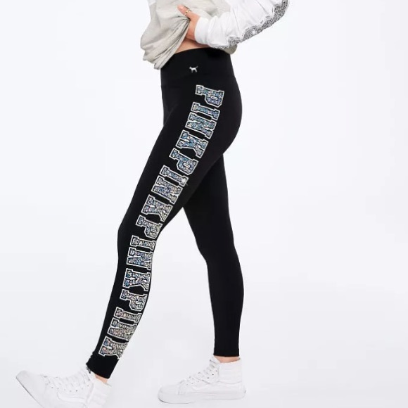 8064702bf4 PINK Victoria's Secret Pants | Black Bling Cotton Yoga Legging Pant ...